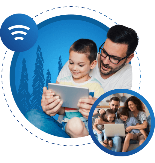 A collage of images, showing parents and children using devices and an icon of a Wi-Fi signal.