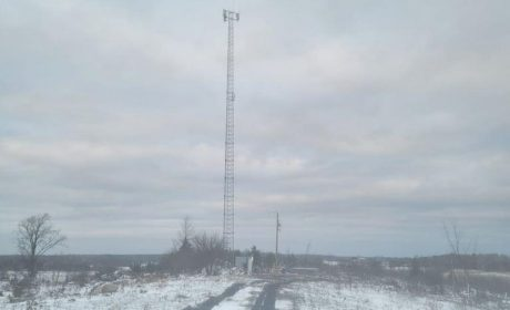 Communications tower in winter