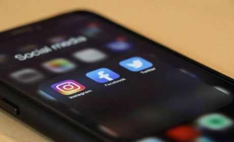 Cellphone showing social media icons