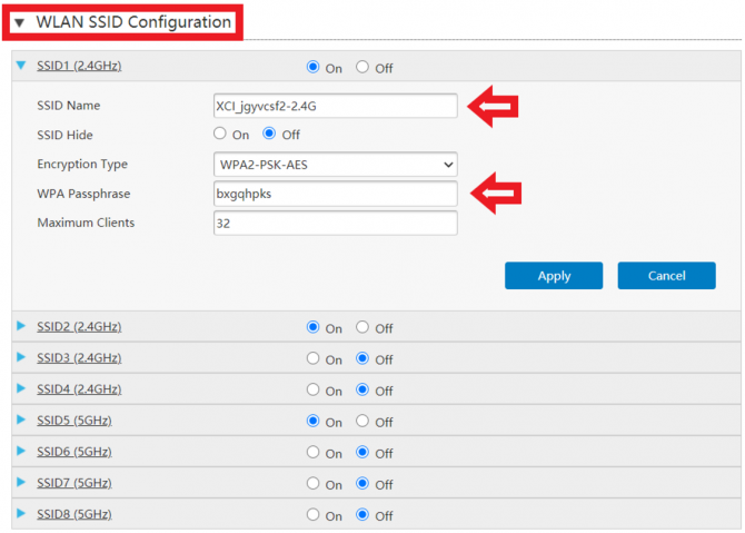 WLAN SSID Configuration Page