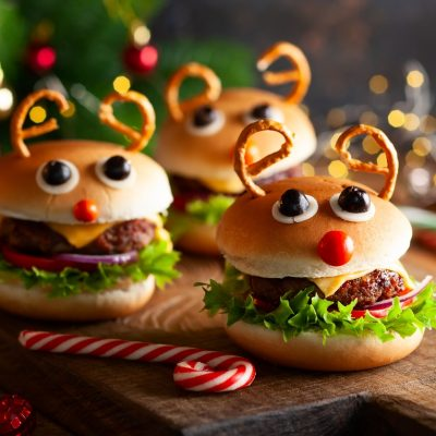 Holiday decorated burgers